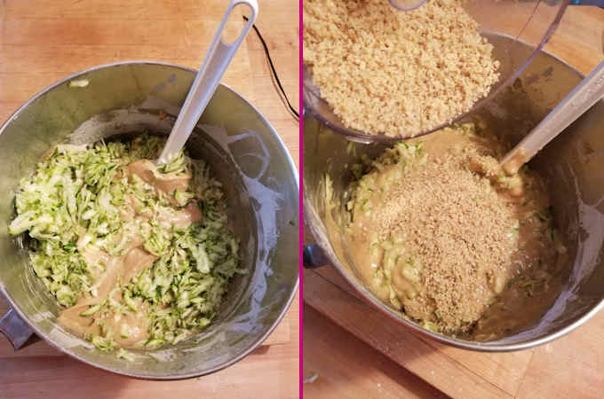 a photo collage showing how to fold shredded zucchini and ground walnuts into zucchini cake batter.