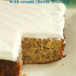 a pinterest image for zucchini cake