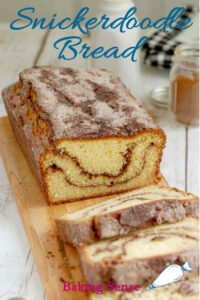a pinterest image of snickerdoodle bread