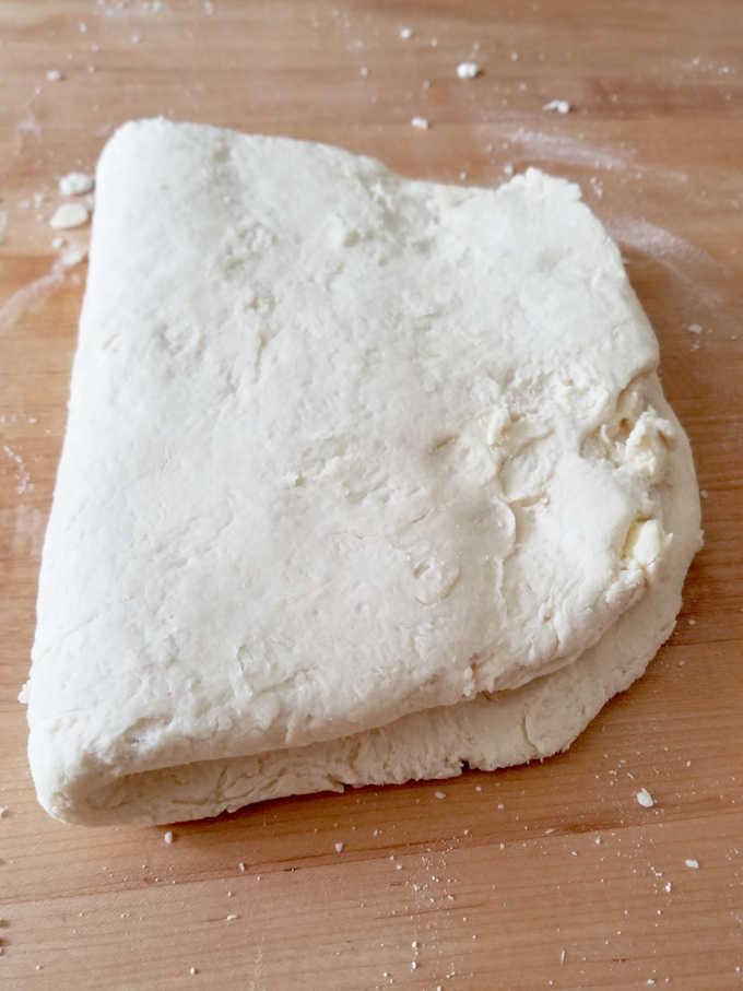 a slab of sourdough biscuit dough