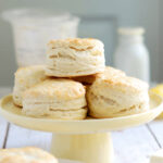 A plate stacked with sourdough biscuits
