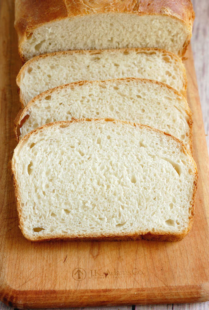 a closeup shot of sliced sourdough sandwich bread