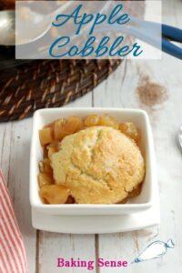 a pinterest image for skillet apple cobbler