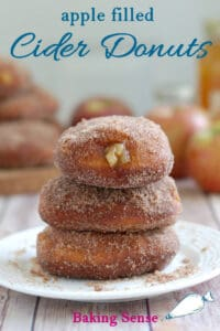 a pinterest image for apple filled donut recipe