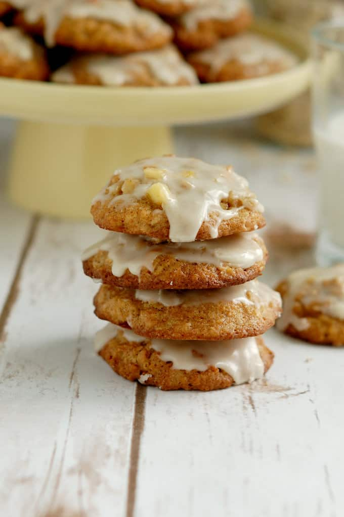 a stack of apple oatmeal cookies