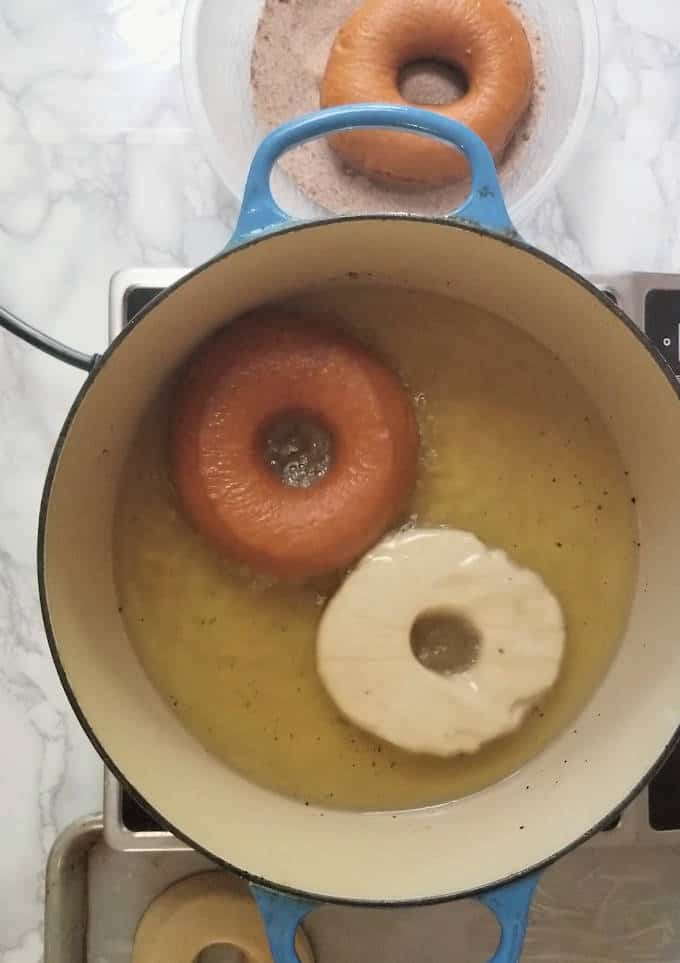 donuts frying in oil