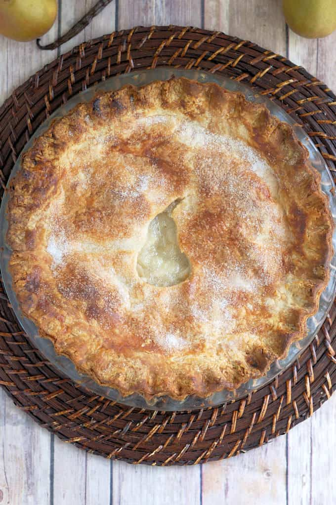 a freshly baked pear pie