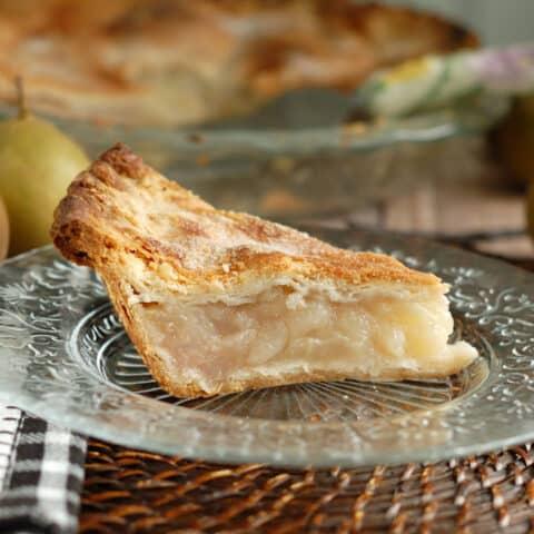 a slice of vanilla pear pie
