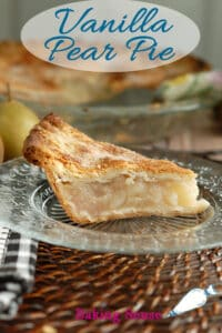 a pinterest image for vanilla pear pie recipe