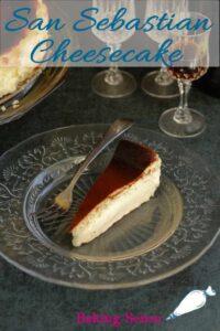 a pinterest image for san sebastian cheeseake
