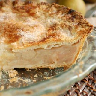 a closeup of a pie made with sourdough pie crust
