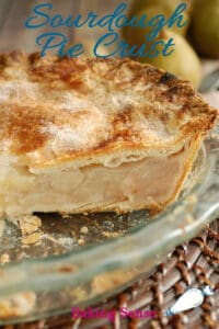 a pinterest image for sourdough pie crust recipe