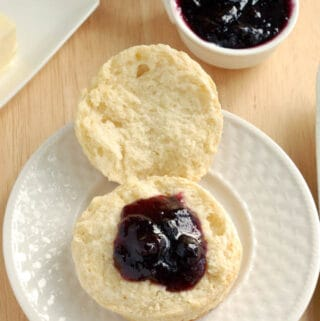 a sourdough scone with preserves on top