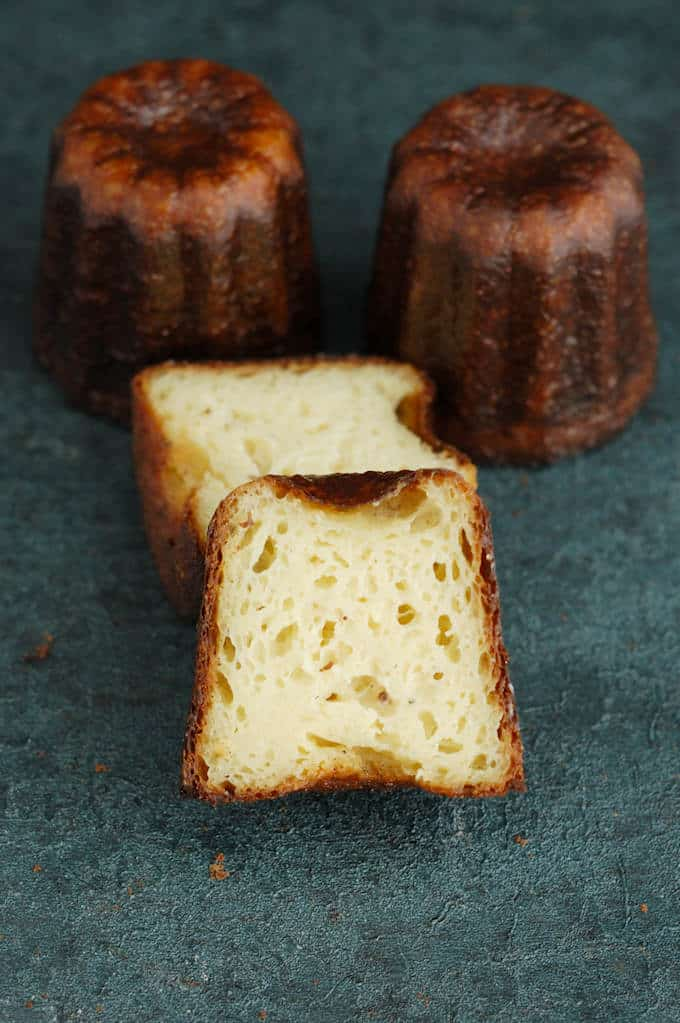 an interior shot of a canele baked in steel carbon pan