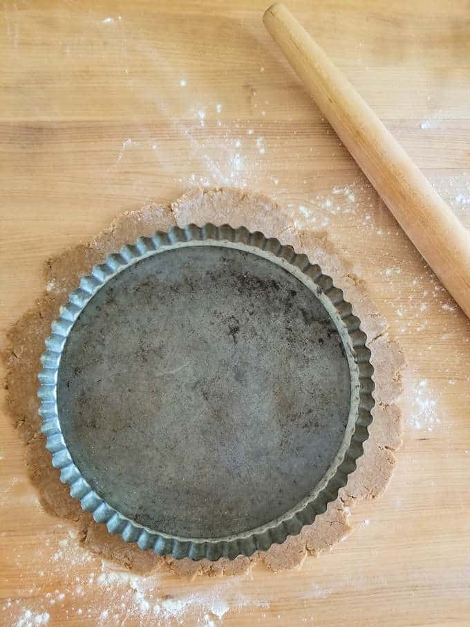 a tart pan and a piece of rolled speculaas dough
