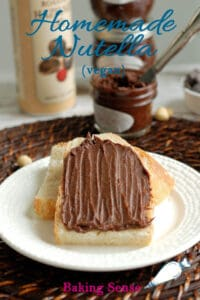 a pinterest image for homemade nutella recipe