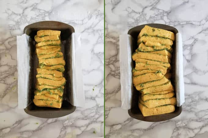 two loaves of pumpkin bread, before and after rising