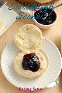 a pinterest image for sourdough scone recipe