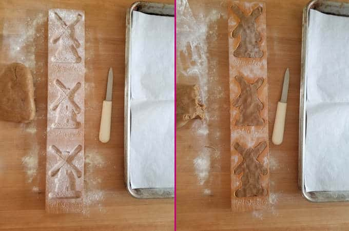 two photos showing the set up for molding speculaas cookies