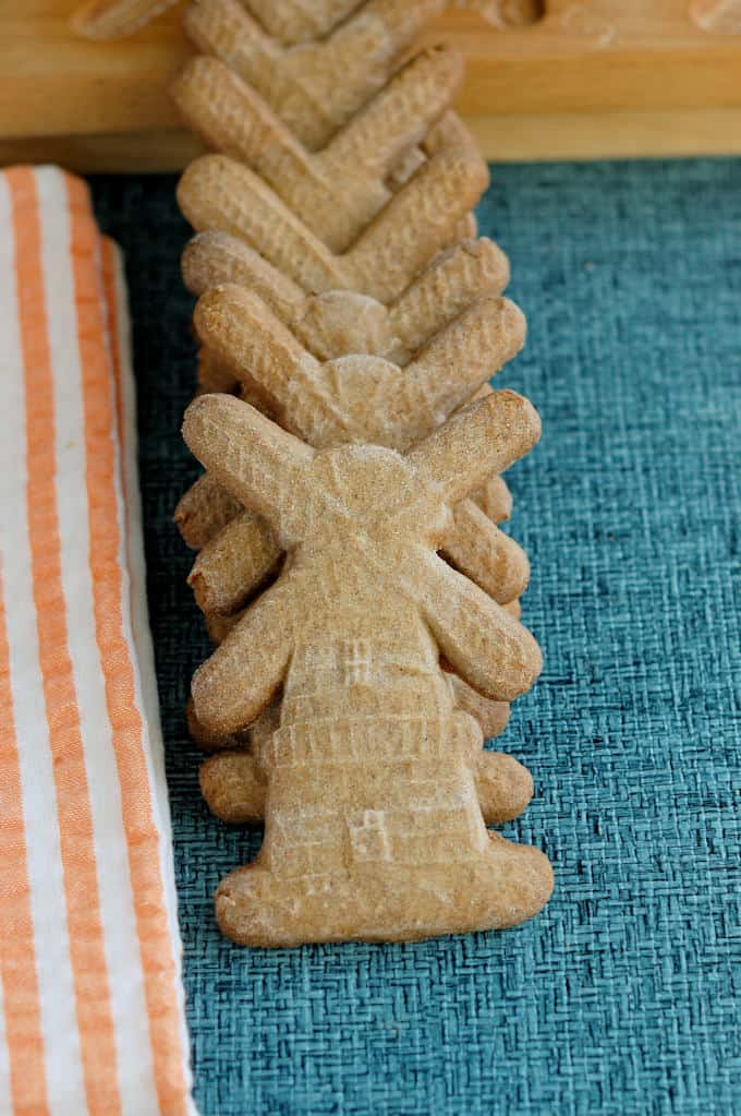 a stack of speculaas windmill cookies
