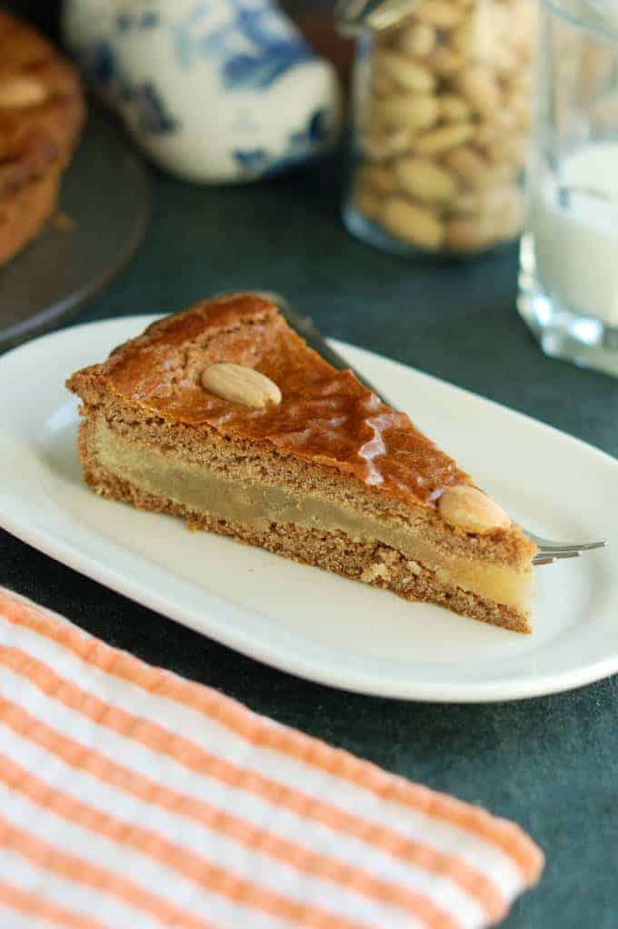 a slice of speculaas cake with almond paste filling