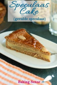 a pinterest image for filled speculaas cake