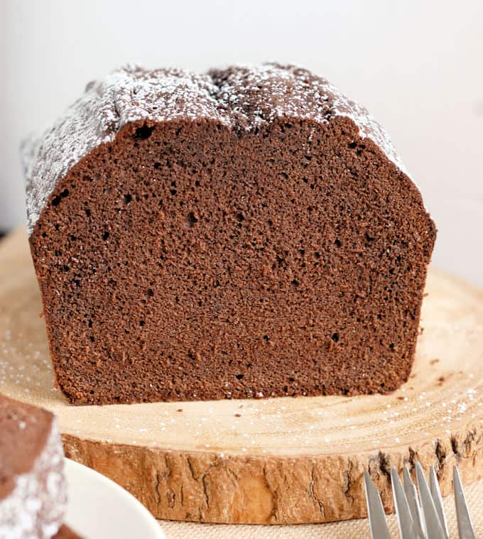 a view of a cross section of chocolate pound cake