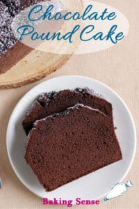 a pinterest image for chocolate pound cake recipe