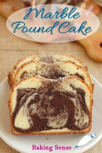 a pinterest image for marble pound cake recipe