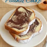 a pinterest image for marble pound cake