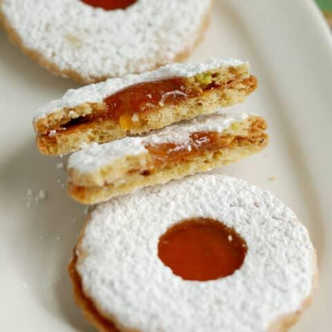 Pistachio Apricot Linzer Cookies