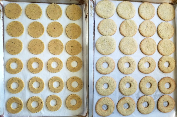 pistachio linzer cookies before and after baking