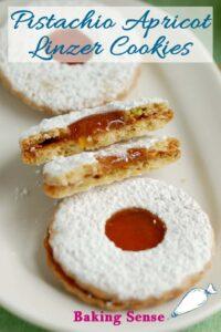 a pinterest image for pistachio apricot linzer cookie recipe