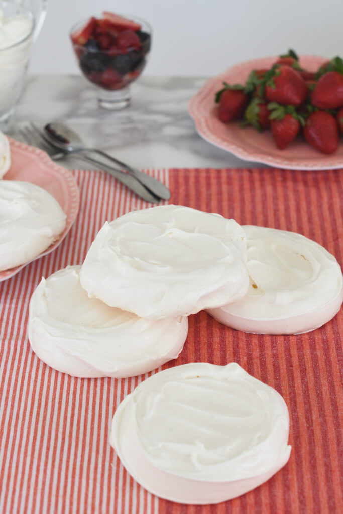 individual pavlovas on a table