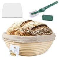 9 Inch Proofing Basket + Bread Lame +Dough Scraper+ Linen Liner