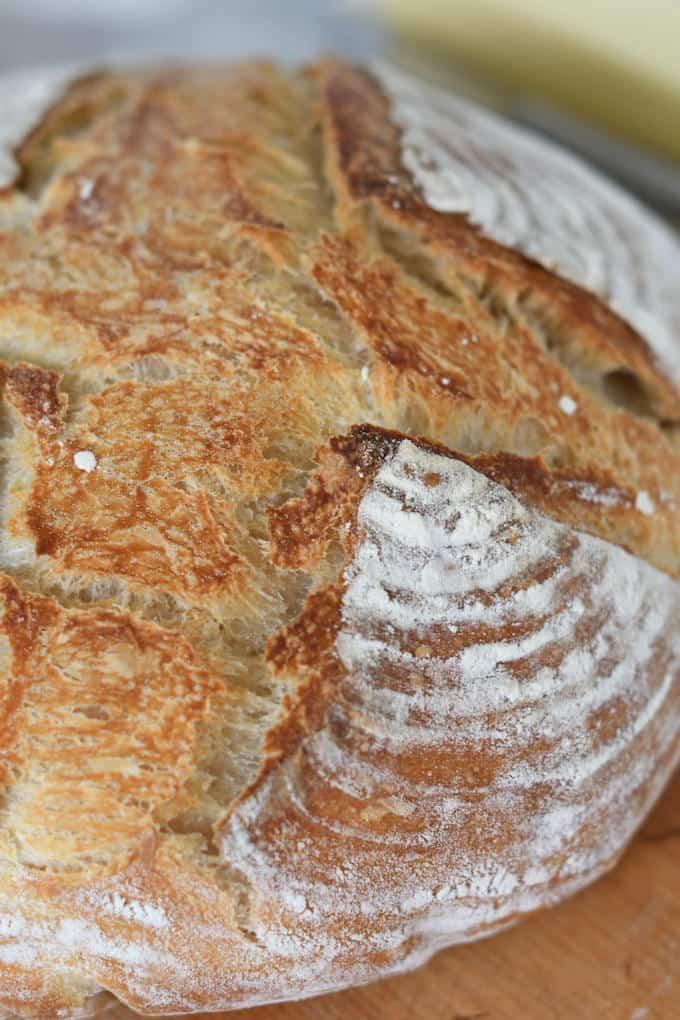 a closeup shot of the crust of a sourdough bread