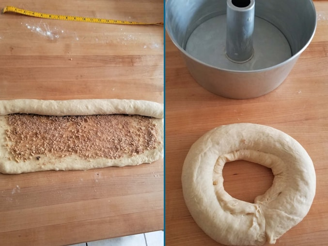 2 photos showing how to roll and form a sourdough coffee cake