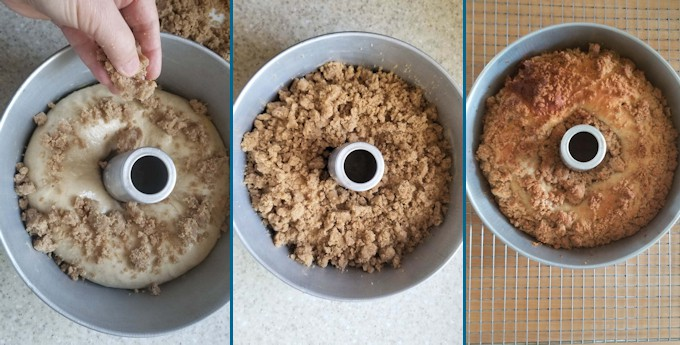 3 photos showing a sourdough coffee cake before and after baking