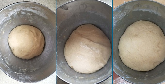 three photos showing the progress of sourdough during fermentation