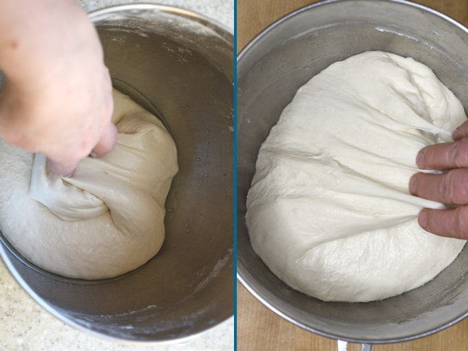 "side by side photos showing how to ""fold"" sourdough bread dough during fermentation."