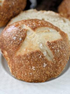 a photo of sourdough pretzel rolls for social media sharing