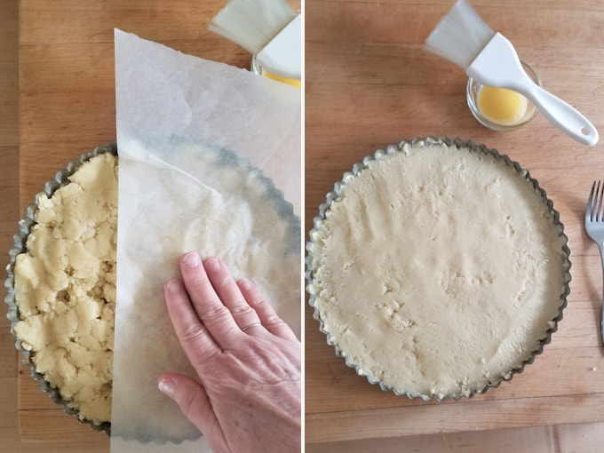 photos showing how to use parchment to press boterkoek dough into the pan