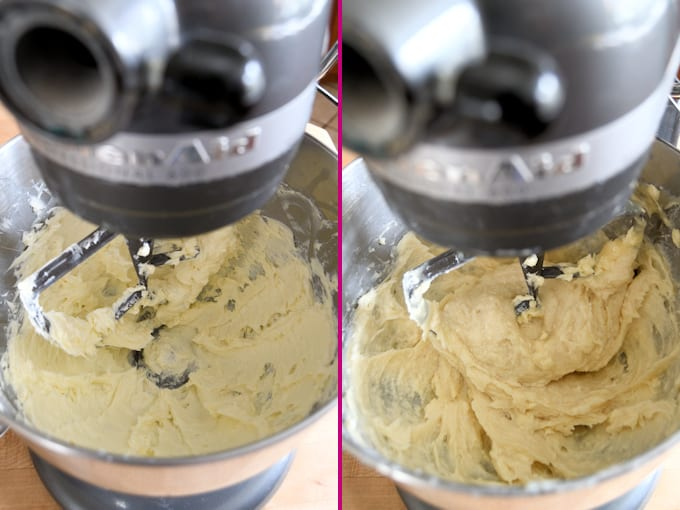 butter base for ermine frosting before and after adding pudding