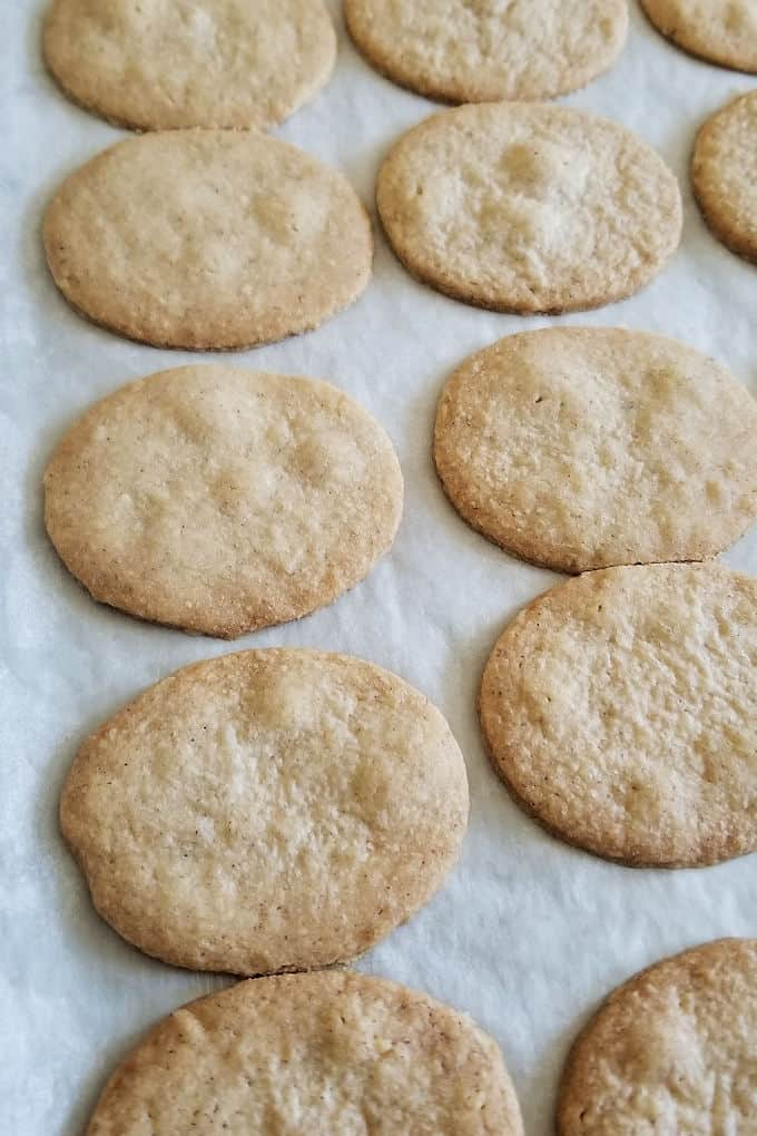 a tray of baked hazelnut cookies