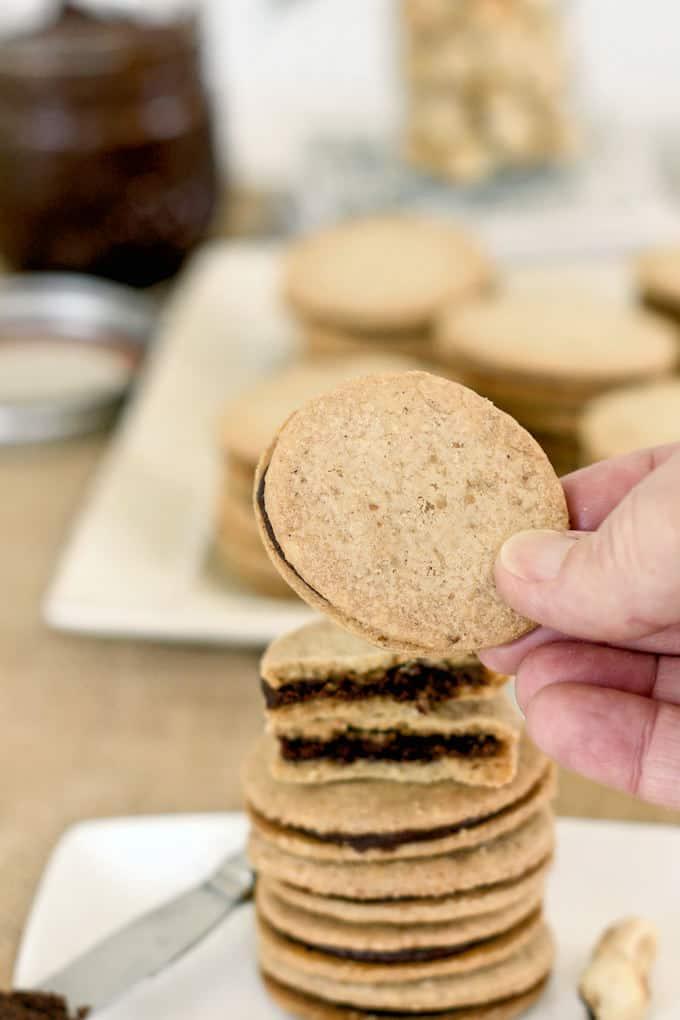a hand holding a chocolate hazelnut cookie