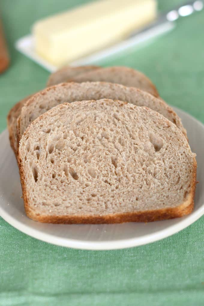 slices of whole wheat sourdough bread on a plate