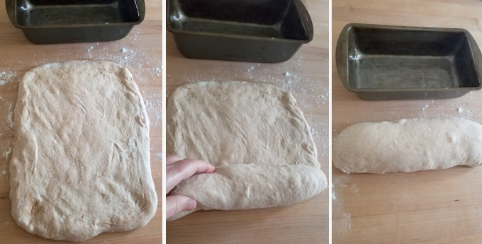 three photos showing how to shape a loaf of whole wheat sourdough bread