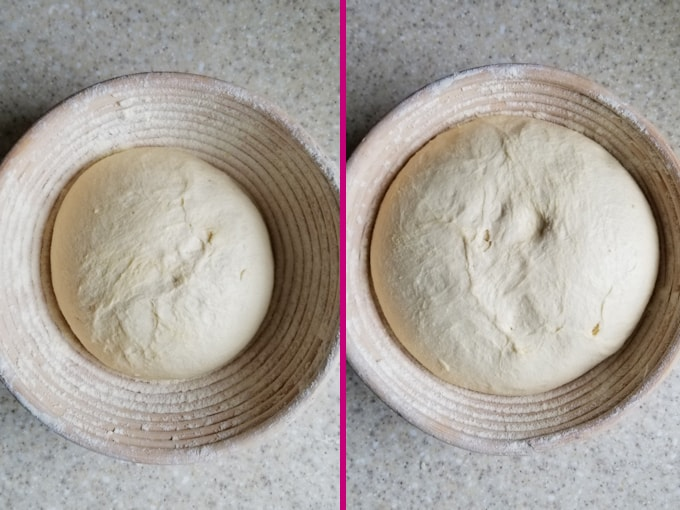 side by side photos showing semolina bread before and after rising.