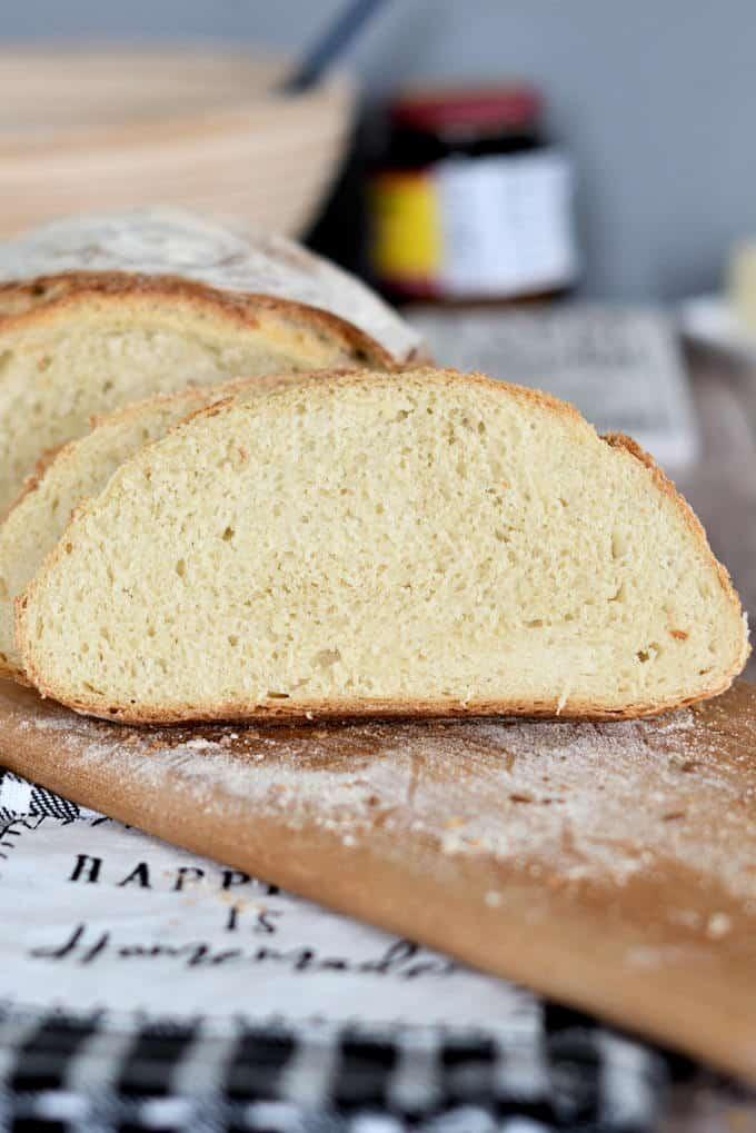 a closeup shot of a slice of semolina bread