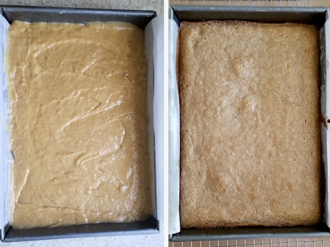 two photos showing sourdough blondies before and after baking